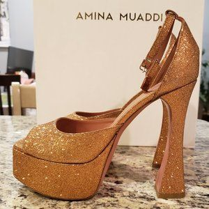 NEW Amina Muaddi Bronze/Gold Glitter Pump